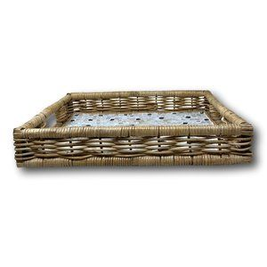 Hand Woven Rattan & Mosaic Tile Serving Tray